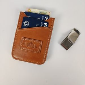 Veg tanned leather money clip